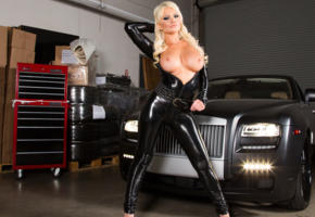 alexis ford, blonde, long hair, topless, fetish, boobs, tits, nipples, garage, car, big tits, tight clothes, shiny, black, lycra, catsuit, fetish babe