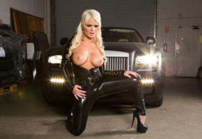 alexis ford, blonde, long hair, topless, boobs, tits, nipples, fetish, high heels, garage, car, big tits, tight clothes, lycra, catsuit, fetish babe