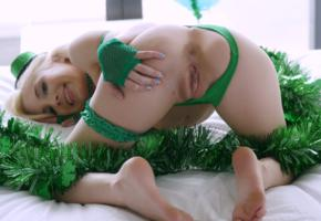 st patricks day, piper perri, piper perry, blonde, naked, panties, green, shaved pussy, labia, ass, spread legs, hat, hi-q, piper p, anus, pussy, doggy