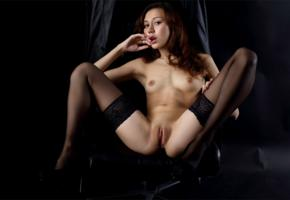 sakura, sexy girl, adult model, nude, naked, spreading legs, stockings, pussy, cunt, labia, tits, shaved pussy, brunette, small tits, tiny tits, jasminne jem