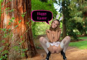easter, katya clover, clover, mango, naked, boobs, nylons, high heels, bunny ears, shaved pussy, labia, spread legs, forest, caramel, katyaclover, mango a, squatting, ass, stockings