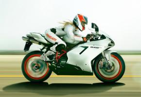 blonde, bike, ducati, ducati 848 evo, widescreen cut, racing, track, helmet