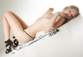 nina, blonde, sexy girl, adult model, panties, sandals, boobs, tits