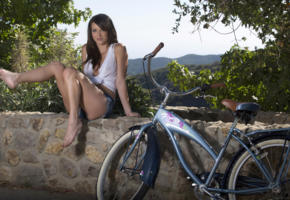 malena morgan, brunette, beauty, short, shirt, bicycle, sexy legs, on nature, non nude, see through, blouse, jeans shorts, carly morrison, denim shorts