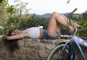 malena morgan, brunette, beauty, short, shirt, bicycle, sexy legs, on nature, non nude, see through, blouse, jeans shorts, carly morrison