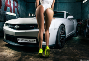 chevrolet, camaro, tattoo, ass, swimsuit, chevrolet camaro, legs, shoes, car