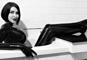 ariane saint, brunette, canadian, glamour, cosplayer, busty, sexy babe, tattoo, posing, smile, bathroom, tight clothes, black, latex, fullsuit, hot, shiny, rubber, fetish, erotic, shiny clothes, fetish babe, ariane saint amour, black and white