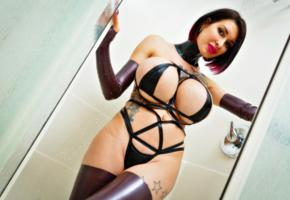 ariane saint, brunette, canadian, glamour, adult model, cosplayer, busty, sexy babe, tattoo, fake boobs, posing, bathroom, shower, rarely covered, super boobs, shiny clothes, red lips, body art, shiny, rubber, fetish, gloves, stockings, ariane saint amour, fetish babe, wet