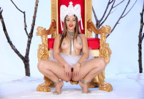 dani daniels, sexy girl, adult model, hot, throne, the snow queen, squatting, legs, heels, spreading, pussy, labia, tits, boobs, dani d, spreading pussy