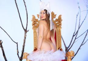 dani daniels, sexy girl, adult model, hot, throne, the snow queen, ass, butt, smile, dani d