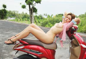 oliana, niki mey, thea c, legs, heels, tits, boobs, nipples, scooter
