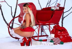 kissa sins, hot girl, sexy girl, santa baby, knee socks, christmas, new year