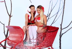 kissa sins, dani daniels, hot girls, sexy girls, santa baby, christmas, new year, smile, knee socks