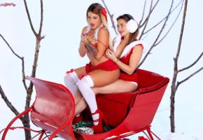 kissa sins, dani daniels, hot girls, sexy girls, santa baby, knee socks, christmas, new year