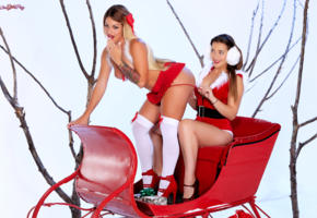 kissa sins, dani daniels, hot girls, sexy girls, santa baby, christmas, new year, knee socks