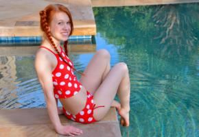 dolly little, dolly, redhead, pigtails, non nude, bikini, pool, smile, hi-q, sexy legs, dolly ii, swimsuit