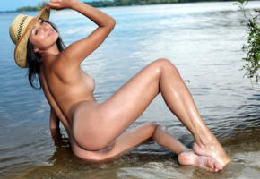 yarina a, yarina p, brunette, beach, naked, tits, shaved pussy, labia, ass, hat, smile, ultra hi-q, wet, sexy legs, yarina, marketa, nikita y, ultra, hi-q, best quality, hot, ass wallpaper