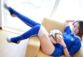 girl, sweet, cute, asian, uniform, ball, knee socks, football, soccer, soccer ball