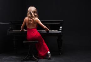 girl, sexy, dress, piano, music, red dress