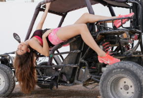 nina north, brunette, non nude, atv, shorts, running shoes, ultra hi-q, sexy legs, nina ii, nikes, long hair, offroad