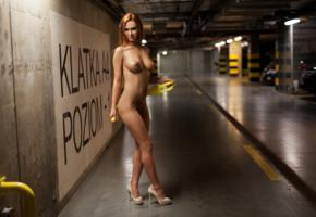 justyna, redhead, tits, parking, tattoo, parking lot, lot, high heels, boobs, perfect girl, perfect body
