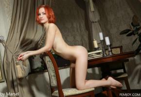 anastasia g, anastasia azul, model, femjoy, nude, redhead, books, candles