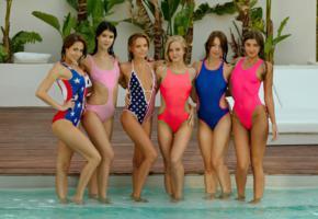cecilia, clover, maria ryabushkina, antonia sainz, lady dee, taylor sands, swimsuits, pool, blondes, brunettes, hi-q, 6 babes