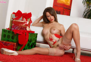 malena morgan, pussy, tits, sexy, masturbating, christmas, new year, boobs, brunette, labia, trimmed pussy