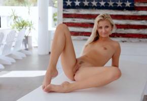 cayla, blonde, naked, flag, small tits, trimmed pussy, labia, ass, spread legs, ultra hi-q, tiny tits, tits
