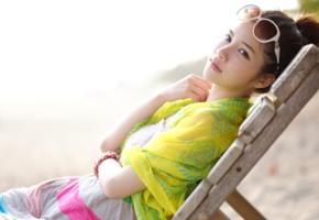 asian, girl, cute, look, sunglasses