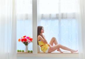 asian, girl, sweet, cute, flowers, sexy legs