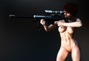 3d, quix, unar, boobs, naked, hot, sexy, nude, sniper rifle, gun