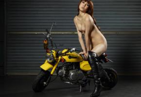 reina yuuki, reina, motorcycle, minimoto, sexy, small tits, tiny tits, hi-q, boots