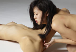 konata, lulu, japanese, asian, fingering, masturbating, pussy, haired pussy, brunette