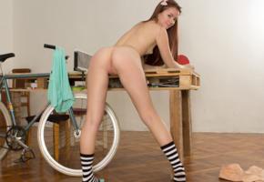 foxy, bicycle, brunette, ass, socks, small tits, pink bow, foxy salt, hi-q, hot, ass wallpaper