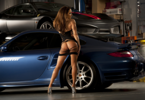 girl, car, ass, lingerie, brunette