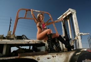 penny mathis, babe, forklift, bikini, outdoors, blue sky, boots, hot, sexy, jennifer perez, jenny, jenny p, penny mathias, actiongirls