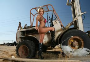 penny mathis, big boobs, model, outdoors, forklift, boots, tires, bikini, action babe, jennifer perez, jenny, jenny p, penny mathias, high heels, actiongirls