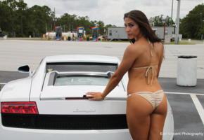 amatuer, brunette, ass, bikini, car, lamborghini