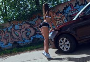 girl, sexy, car, panties, bra, sneakers, sexy legs, ass, butt, buttocks, bum, long hairs