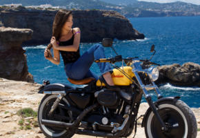 lorena garcia, model, hot, nature, sea, motorcycle, jeans, brunette
