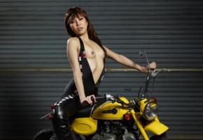 reina yuuki, reina, motorcycle, minimoto, tiny tits, small tits, asian, nipples