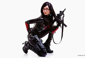 alodia, brunette, exotic, cosplayer, amateur, slim, asian, long hair, posing, kneeling, lycra, catsuit, pvc, knee boots, cosplay, the baroness, girls and guns, uzi, erotic, ultra, hi-q, best quality, minimalist wall, own cut, babes in boots