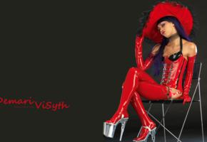 demari vi syth, exotic, slim, alternative, model, sexy babe, very, long hair, posing, chair, sitting, red, latex, lingerie, corset, gloves, stockings, plateau heels, shiny, rubber, fetish, minimalist wall, own cut, original photo, phillip marco vallentin, erotic, fetish babe, lingerie series, high heels, purple hair, ultra, hi-q, best quality