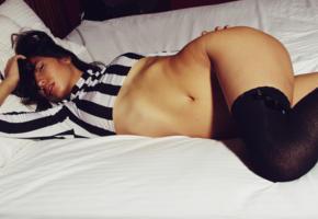 kalopsia, asian, sexy, stockings, brunette, bed, hi-q
