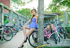 asian, legs, bicycle, heels, long legs
