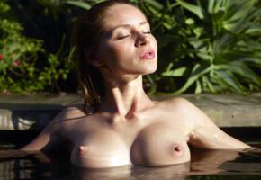sonya, outdoors, water, wet, closeup, big tits, hard nipples, ultra hi-q, nipples, puffy nipples, boobs, tits, pool, red fox, yanna o