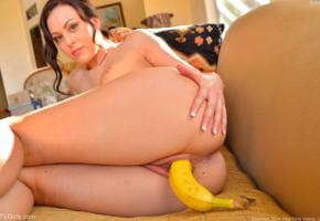 soraya, soraya a, banana, adult model, insertion, fetish, fruit, brunette, hot ass, sexy, sofa, masturbate, ass, pussy, labia