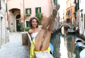 galina, cecelia, brunette, domai, cute, galina a, ass, pussy, labia, legs up, upskirt, venice, public, no panties