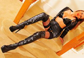 danielle a wiltshire, danielle a, british, glamour, adult model, busty, sitting, sexy dressed, shiny, leather, jacket, miniskirt, overknee boots, pvc, stockings, fetish babe, red lips, onlytease model, high boots, hot, decollete, hi-q, babes in boots